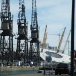 London Docklands - three cranes and the Dome.